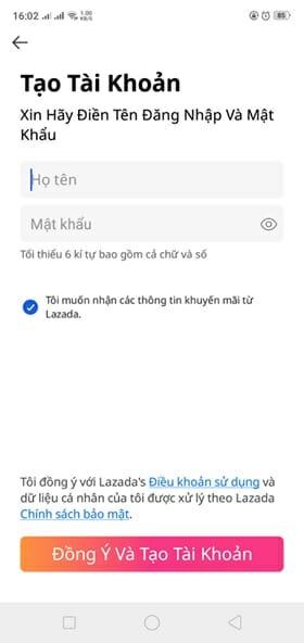 Cách tạo tài khoản Lazada trên App