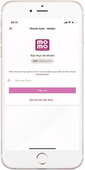 Xác thực tài khoản ví Momo trên ứng dụng Lazada