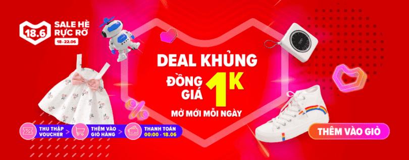 Lazada Sale Hè Rực Rỡ - Deal đồng giá 1k