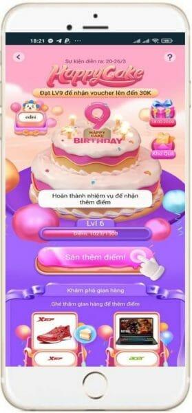 Game Happy Cake sinh nhật Lazada